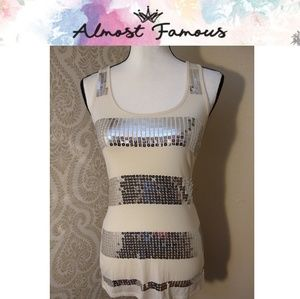 Almost Famous Sequined Racerback Tank Small